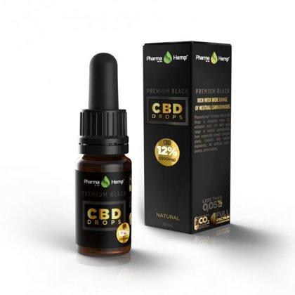 Premium CBD BLACK pilieni 12%, 10ml (Bāzes eļļa - olīveļļa) PharmaHemp