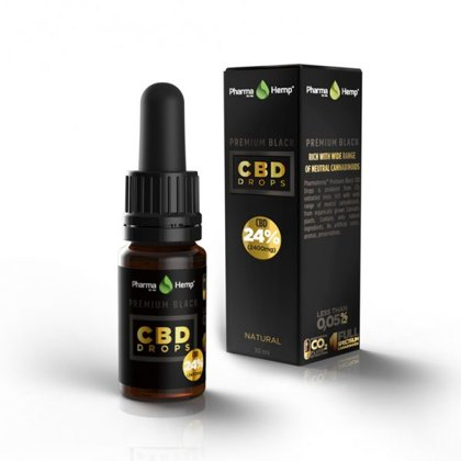 Premium CBD BLACK pilieni 24%, 10ml PharmaHemp