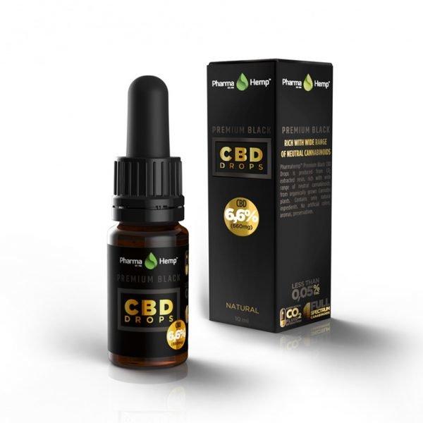 Premium CBD BLACK pilieni 6,6%, 10ml PharmaHemp