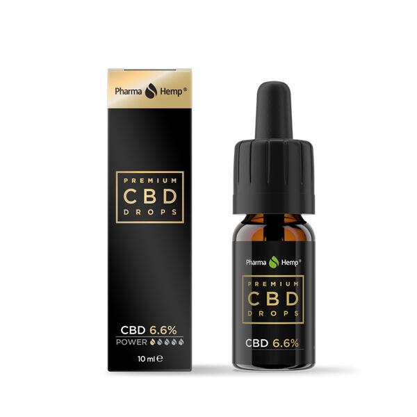 Premium CBD BLACK pilieni 6,6%, 10ml (Bāzes eļļa - olīveļļa) PharmaHemp