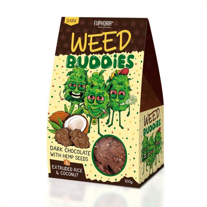 WEED BUDDIES DARK - tumšajā šokolādē, EUPHORIJA